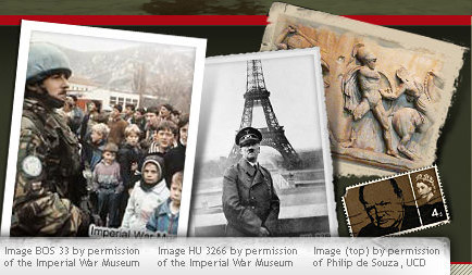 Photo of a soldier in the Balkans. Photo of Hitler in front of the Eiffel Tower. Photo of a classical war sculpture. British stamp featuring Winston Churchill.