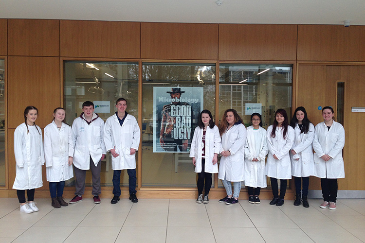 Participants at the UCD Microbiology Workshop outside the Kilty Outreach lab.