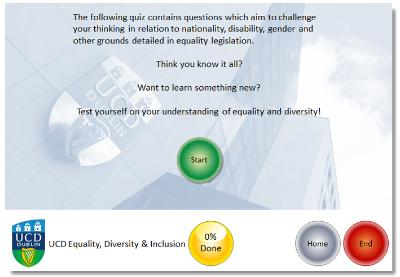 Screenshot of online equality quiz