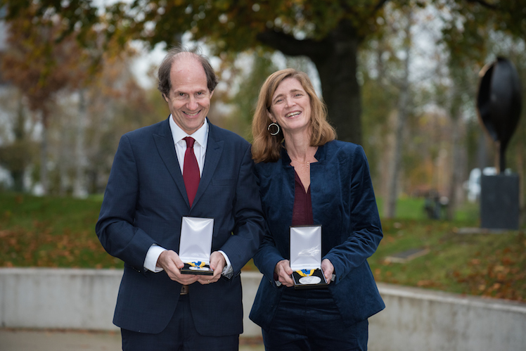 Samantha Power and Cass Sunstein with Ulysses Medal