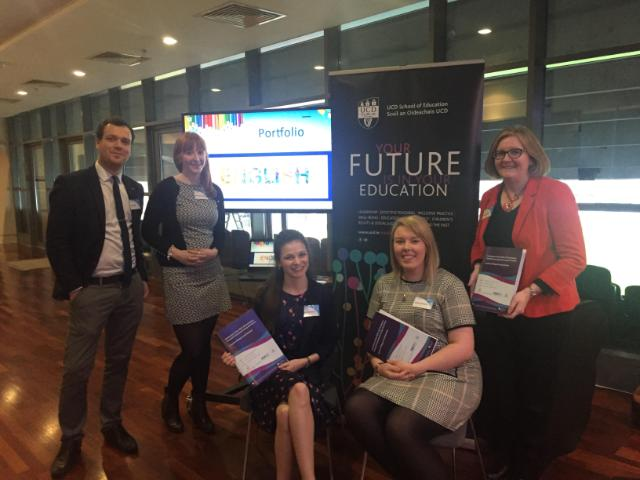 PME students Alex Doyle, Michelle Carty, Sarah McEvoy, Michelle Carty and Aoife Cantwell pictured with their ePortfolio mentor Rachel Farrell at the launch of the report on ePortfolios in Transition Year held in Croke Park on Jan 22nd by PDST and EQI/DCU.