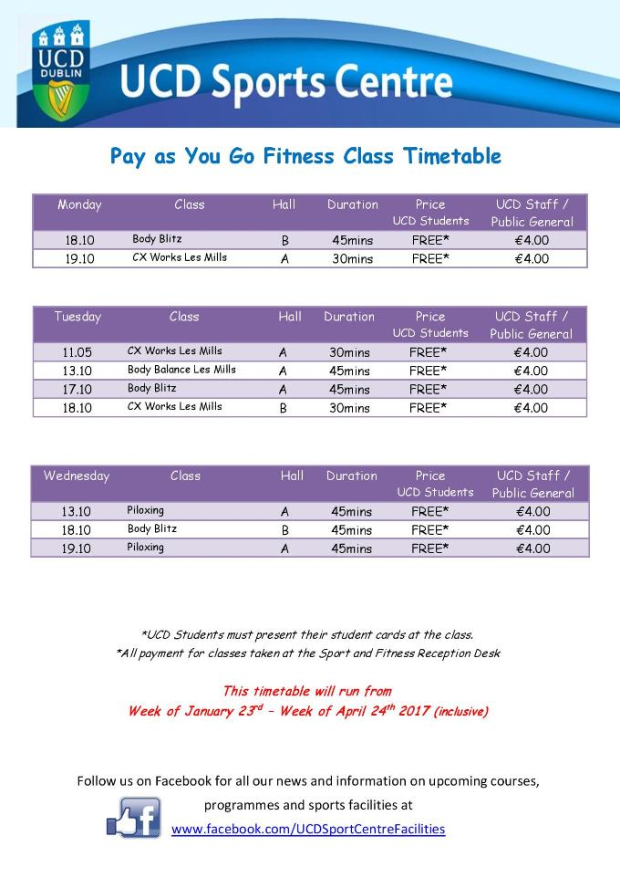 Pay as You Go Timetable 2017