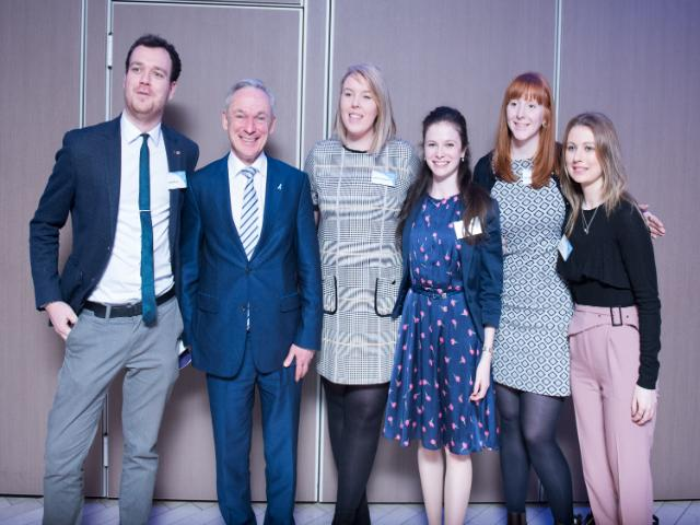 PME students Alex Doyle, Aoife Cantwell, Sarah McEvoy, Michelle Carty and Tracey Meaney pictured with the Minister for Education Richard Bruton TD at the launch of the report on ePortfolios in Transition Year held in Croke Park on Jan 22nd by PDST and EQI/DCU.