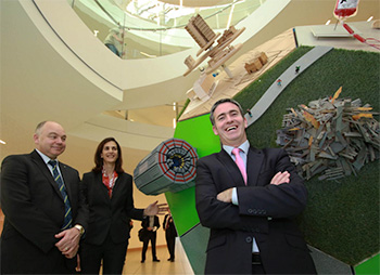 Pictured at the UCD O'Brien Centre for Science are Professor Andrew Deeks, UCD President, Dr Eleni Pratsini, Director, IBM Research-Ireland with Damien English TD, Minister for Skills, Research and Innovation.