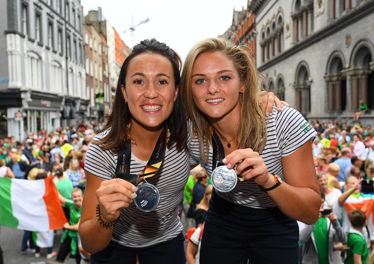 UCD Ad Astra Elite Athletes Anna O'Flanagan, left, and Chloe Watkins during their homecoming at Dame Street in Dublin Credit: Ramsey Cardy/Sportsfile