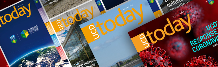 Covers of recent editions of UCD Today Magazine
