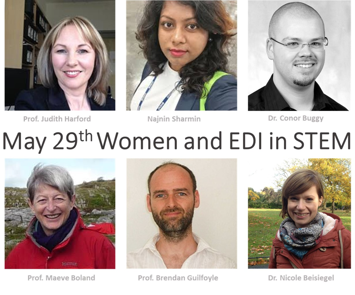 Title image of speakers for May 29th Women in mathematics event